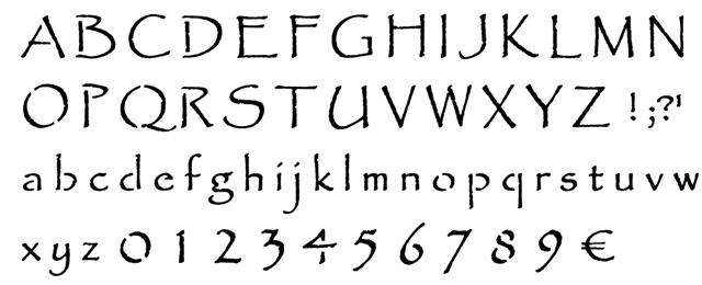 Pochoir alphabet papyrus
