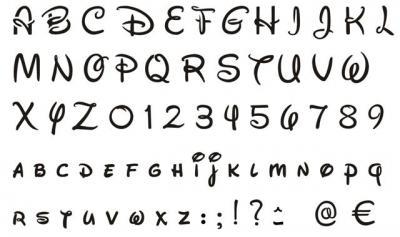Pochoir alphabet Walt Disney plastique 400 microns