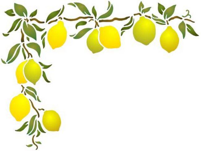 Pochoir angle citrons frise