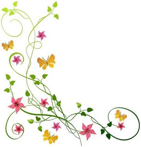 Pochoir angle de fleurs papillons fl9004