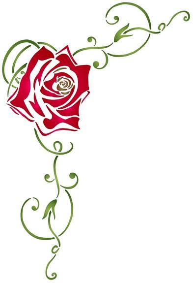 Pochoir angle fleur rose riouge volutes fl10001