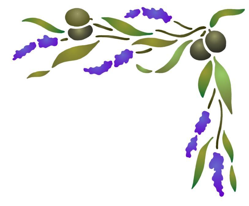Pochoir angle interrupteur olives lavande inter008