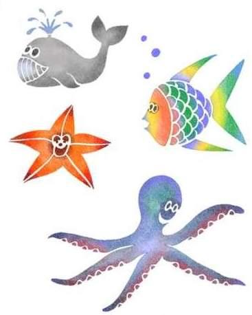 Pochoir animaux marins