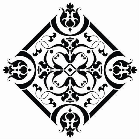 Pochoir antique motif 18eme siecle baroque rosace carree stipo1180