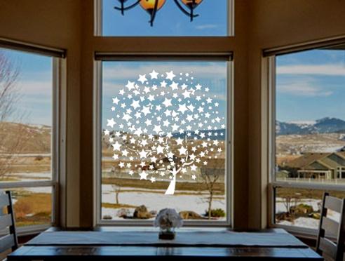 Pochoir arbre etoiles decoration de noel sur vitre pochoir geant de noel