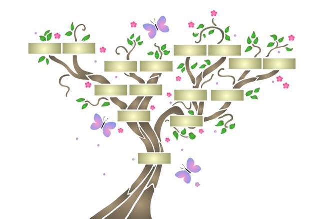 Pochoir arbre genealogique papillons