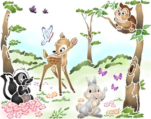 Pochoir bambi panpan decor mural
