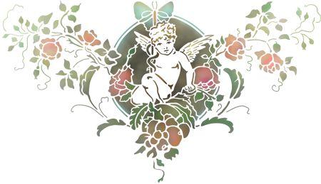 Pochoir baroque ange fleurs