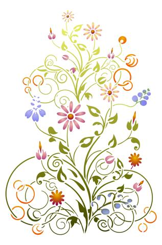 Pochoir bouquet de fleurs champetres stipo758 small