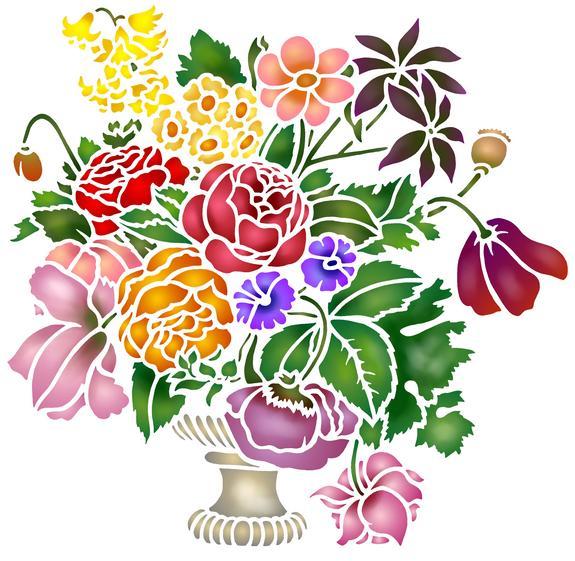 Pochoir bouquet de fleurs pivoines fl1770