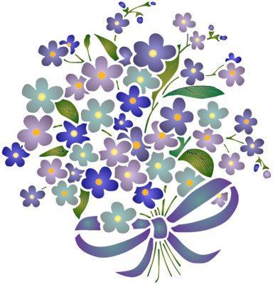 Pochoir Bouquet de fleurs violettes