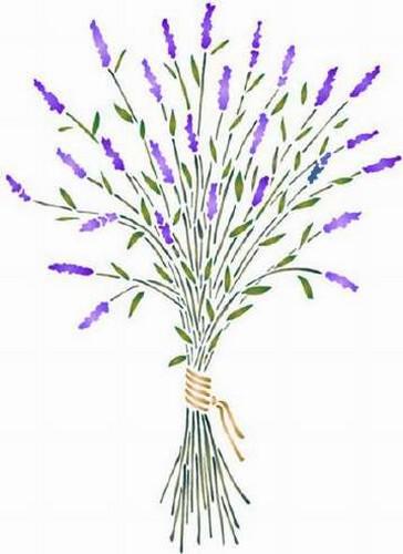 Pochoir bouquet de lavande sticker f801