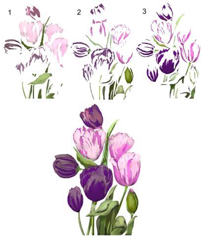Pochoir bouquet de tulipes 3d
