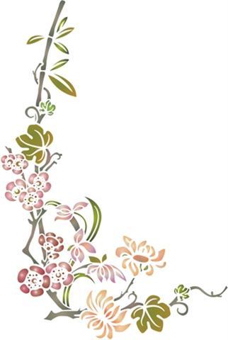 Pochoir branche fleurs japonaises asiatiques