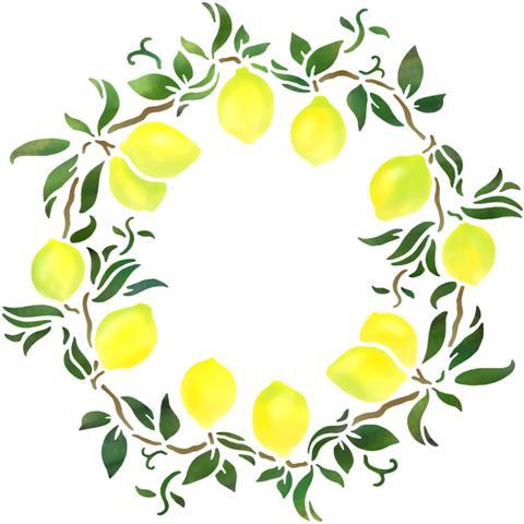 Pochoir cercle rosace citrons