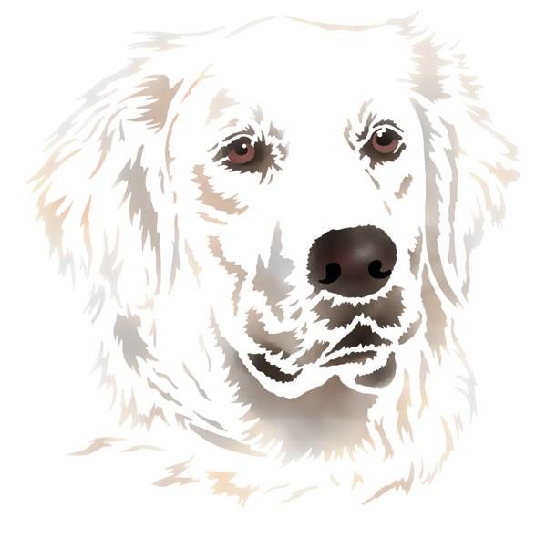 Pochoir chien blanc
