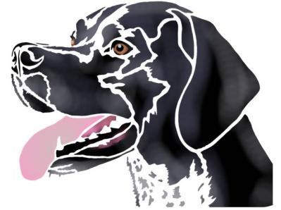 Pochoir chien de chasse