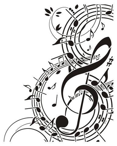 Pochoir cle de sol notes de musique mus1001