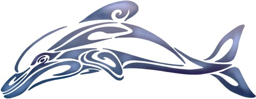 Pochoir dauphin tribal design