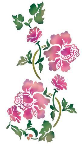 Pochoir de fleurs baroques
