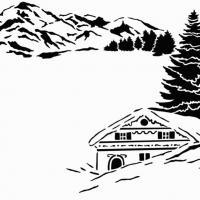 Pochoir decoratif chalet montagne ideal vitrine pour noel