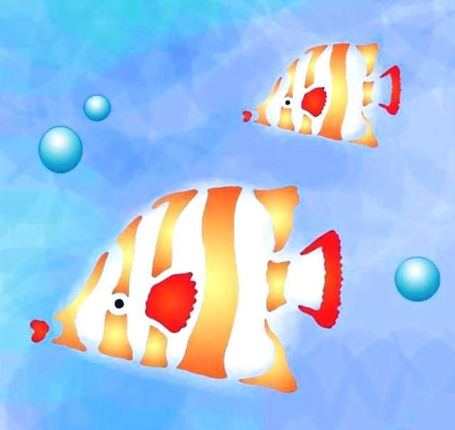 Pochoir deux poissons