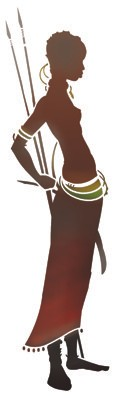 Pochoir femme africaine lances