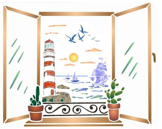 Pochoir fenetre vue marine
