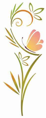 Pochoir fleur et papillon sti320