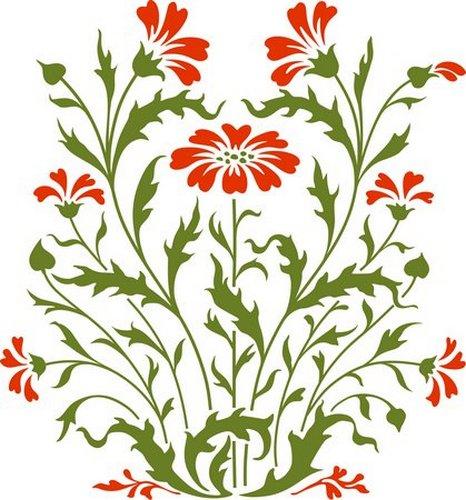 Pochoir fleurs baroques champetres fl4009