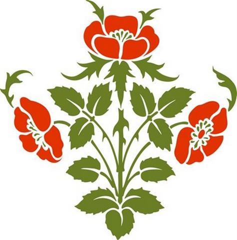 Pochoir fleurs de coquelicots style ancien baroque fl4008 small