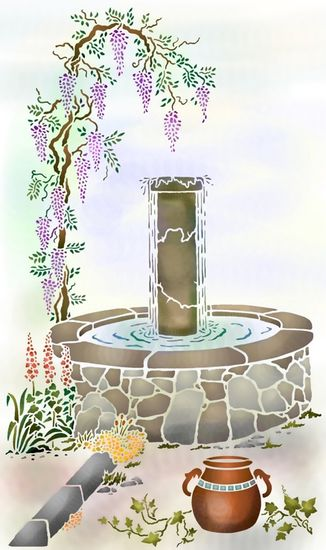 Pochoir fontaine glycine mural spmu505