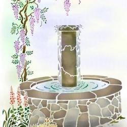 Pochoir mural glycine fontaine