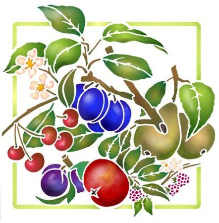Pochoir fruits cerise pomme prune style pochoir mon artisane