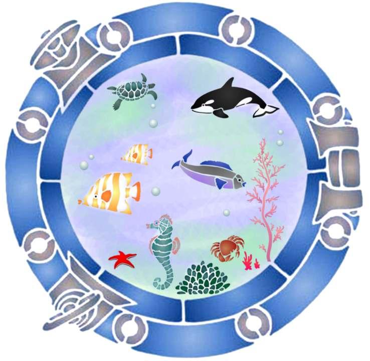 Pochoir hublot poissons