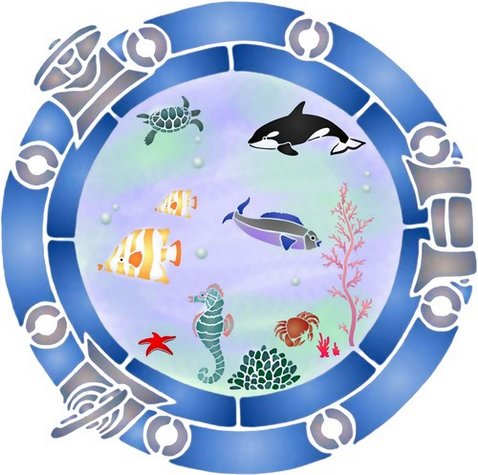 Pochoir hublot sous marin poissons mar1009