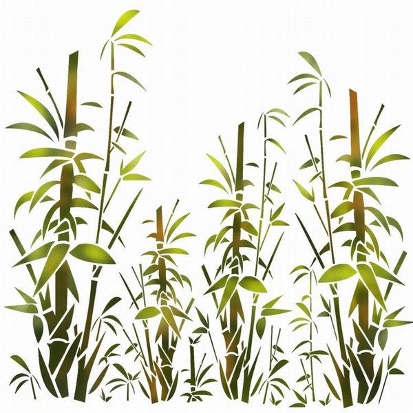 Pochoir mur de bambous paysage spmu499 mon artisane style pochoir