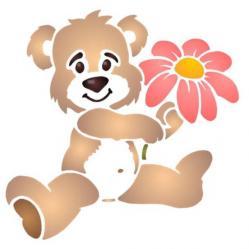 Pochoir ourson fleurs