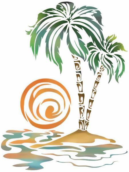 Pochoir palmier soleil coucher de soleil plage