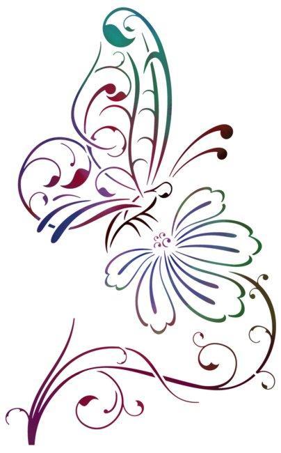Pochoir papillon sur fleur design a peindre mon artisane div16005