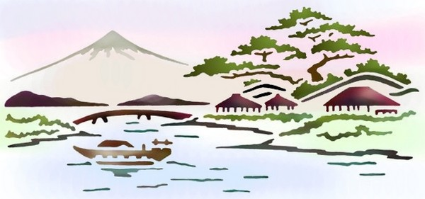 Pochoir paysage chinois chin83 mon artisane style pochoir