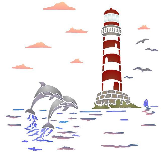 Pochoir paysage marin phare dauphins