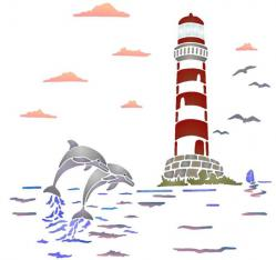 paysage marin phare dauphins