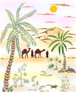 Pochoir paysage palmiers touaregs