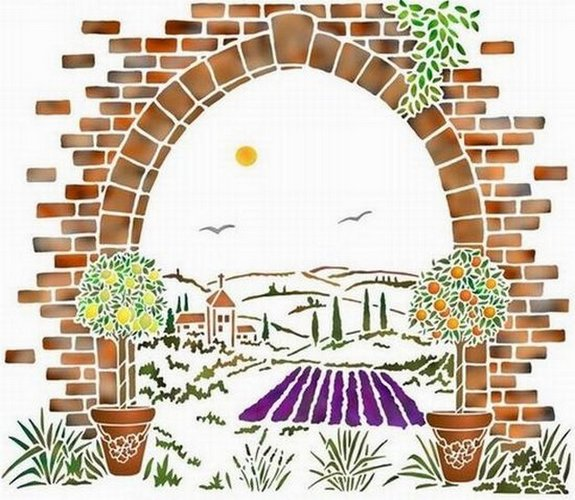 Pochoir paysage toscane mur4003