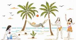 Pochoir paysage vahinees palmiers spmu045 mon artisane
