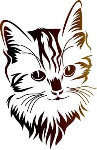 Pochoir petit chat chaton