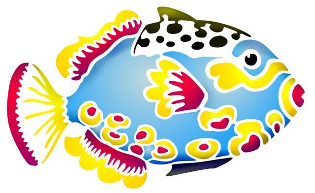 Pochoir poisson exotique