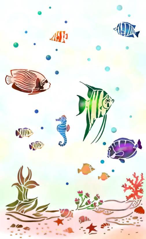Pochoir poissons paysage sous marin