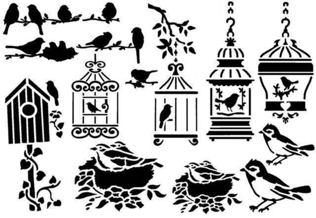 Pochoir scrapbooking oiseaux mon artisane
